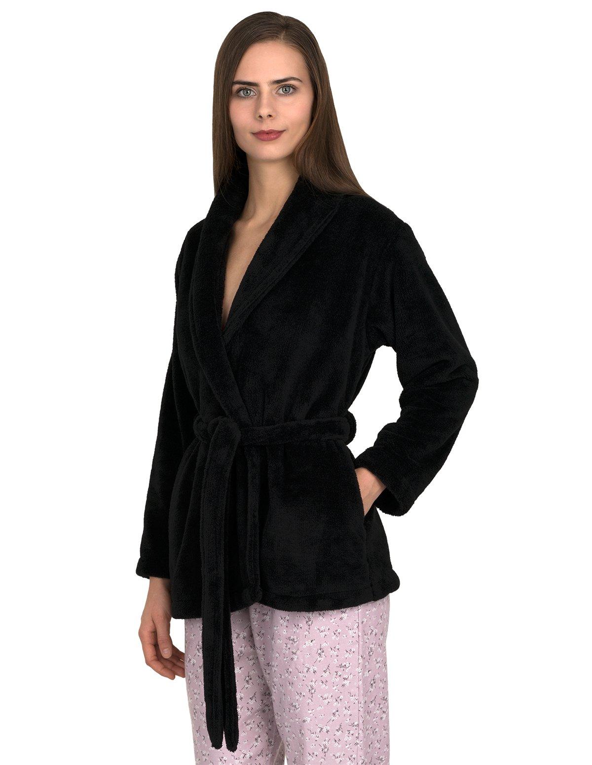 TowelSelections Women's Bed Jacket Fleece Cardigan Cuddly Robe