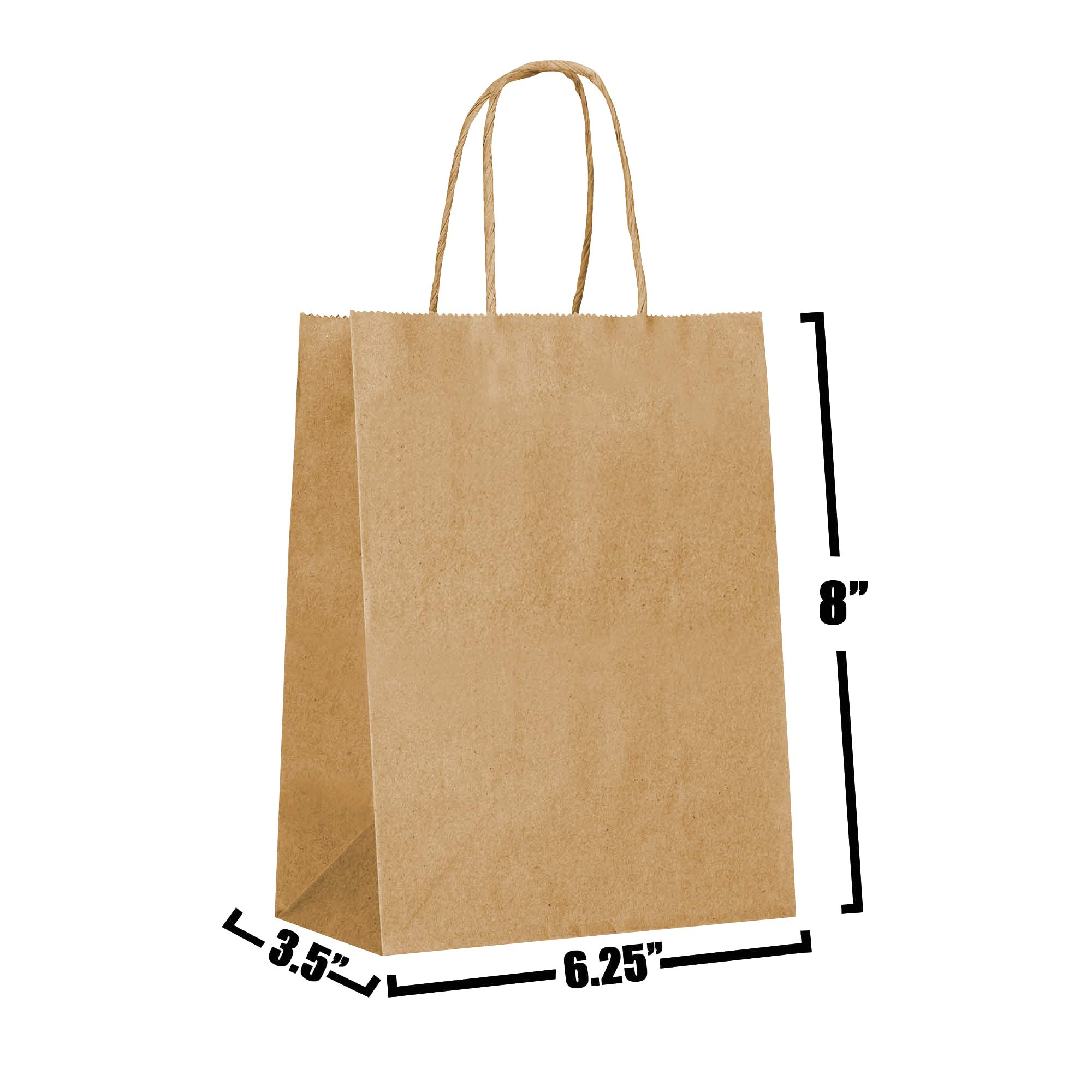 [50 Bags] 6.25 X 3.5 X 8 Brown Kraft Paper Gift Bags Bulk with Handles. Ideal for Shopping, Packaging, Retail, Party, Craft, Gifts, Wedding, Recycled, Business, Goody and Merchandise Bag (Brown)