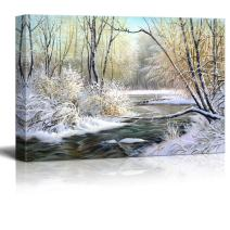 """Canvas Prints Wall Art - Winter Landscape with The Wood River - 16"""" x 24"""""""