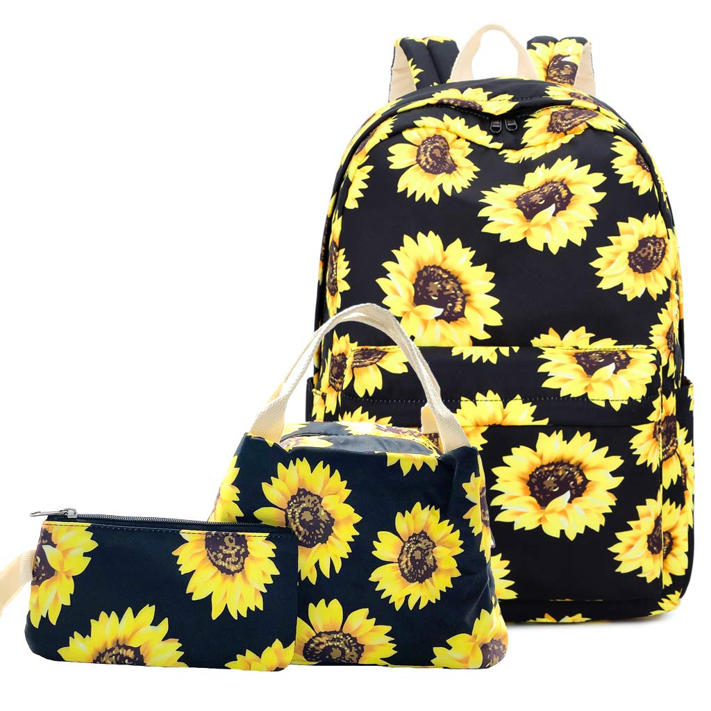 """Lmeison Floral Backpack for Wemen Girls, Sunflower College Bookbag with Lunch Bag and Pencil Case, Lightweight and Waterproof, Travel Daypack 15"""" Laptop Bag for School"""