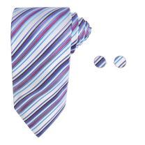 Y&G Men's Fashion Various of Colors Stripes Necktie Rack Gift Mens Silk Tie Cufflinks Set 2PT