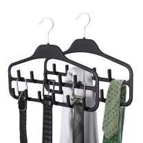 SMARTAKE 2 Pack Belt Hanger, 360 Degree Rotating Tie Rack with Hooks, Non-Slip Durable Hanging Closet Organizer Accessories Holder for Leather Belt, Bow Tie, Scarves and More, Black