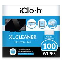 iCloth Extra Large Monitor and TV Screen Cleaner Pro-Grade Individually Wrapped Wet Wipes, 1 Wipe Cleans Several Flat Screen TV's and Monitors, 100 Wipes