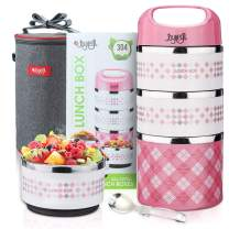 JOYXEON Thermal Lunch Box Stackable Lunch Box, 3-Tier Insulated Food Container,BPA free & Stainless Steel 304, with 600D Oxford Insulated Lunch Bag & Foldable Spoon,for Kids Adults Women Men,43oz,Pink