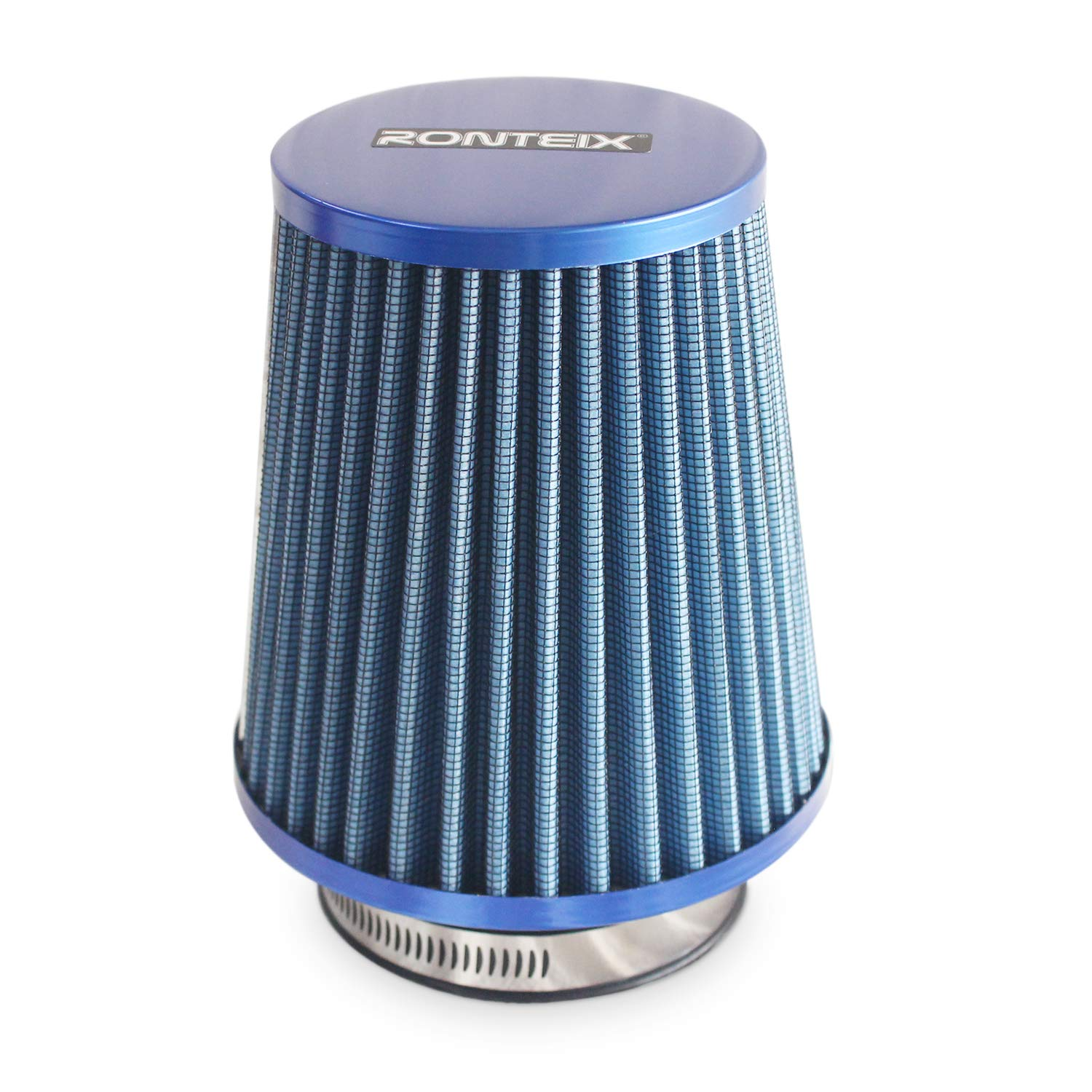 RONTEIX Universal Super Power Dry Flow Air Filter Intake Induction 3 Inches Inlet Oil Free (Blue)