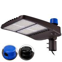 LEONLITE 300W LED Parking Lot Light, UL Listed, Dusk to Dawn Area Lights with Photocell, IP65 Slip Fitter Mount Shobox, Shorting Cap Included, 1-10V Dimmable, 5000K Daylight for Street, Court, Square
