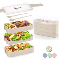 Bento Box Adult Lunch Box Japanese, Wheat Straw, 3-In-1 Compartment, Leakproof Eco-Friendly Lunch Boxes, Meal Prep Containers for Kids with Utensils, Micro-Wave Dishwasher Freezer Safe (Beige)