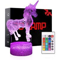 3D Night Light, 7 Colors Changing Smart Switch Remote Control USB & Battery Powered Unicorn Toy 3D Crackle LED Desk Lamps Perfect Birthday Christmas Party Gift for Baby Kid Boy Girl Friend