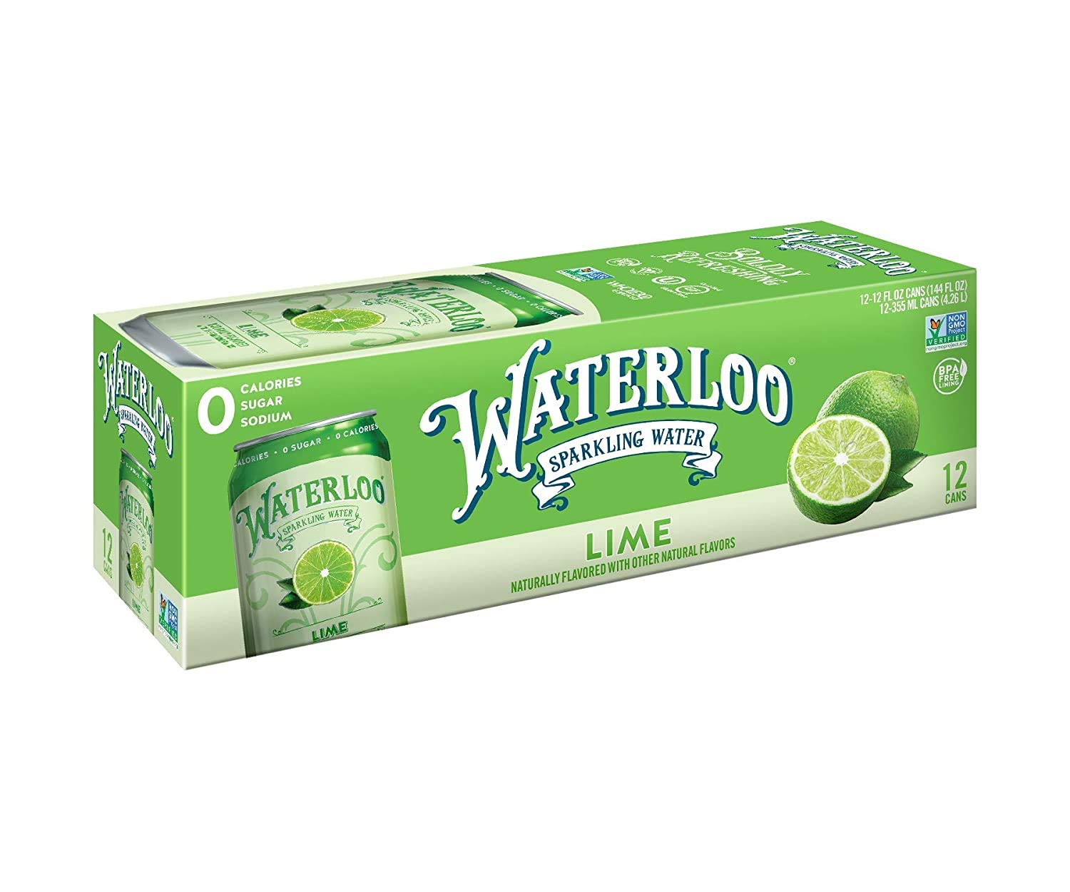 Waterloo Sparkling Water Lime Flavor Zero Calorie No Sugar 12oz Cans (Pack of 12), Fruit Flavored Sparkling Water, Naturally Flavored, Zero Calories, Zero Sugar, Zero Sodium