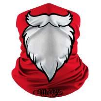 Christmas Neck Gaiter Snowman Santa Print Windproof Dustproof Face Cover Holiday Balaclavas for Christmas Celebration