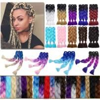 "Ombre Jumbo Braiding Hair Black to Purple to Rose Red 3 Bundles Crochet Twist Hair Extensions 24 inch Three-Tone Long Box Braids Heat Resistance Synthetic Hair for Women DIY Fun(24"",3 Bundles)"