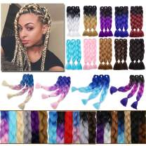 "Ombre Jumbo Braiding Hair Hot Pink to Turquoise Blue Two Tones Crochet Twist Hair Extensions 24 inch Long Box Braids Heat Resistance Synthetic Hair for Women DIY Fun(24"",3 Bundles)"