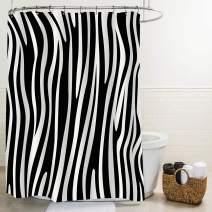 "MitoVilla Black and White Animal Print Shower Curtain, Abstract Zebra Skin Striped Bathroom Decor, Waterproof Fabric Bathroom Accessories with Hooks, 72"" W x 72"" L Standard"