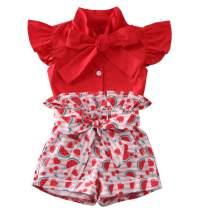 2Pcs Kids Girl Outfits Clothes Polka Dot T-Shirt Off Shoulder Top Sunflower Print Ruffle Crop Top and Shorts Pant Set