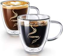 HOKEKI Coffee Cups, Double Wall Insulated Glasses Espresso Mugs with Coasters, Glassware Coffee Cappuccino Cups With Handle (Transprent)
