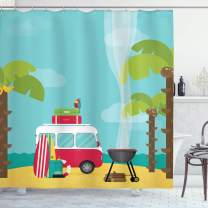 """Ambesonne Explore Shower Curtain, Caravan Camping with Barbeque and Surf Boards Tropical Beach Banana Coconut Trees, Cloth Fabric Bathroom Decor Set with Hooks, 70"""" Long, Pale Blue"""