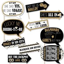 Funny Vegas Before Vows - Las Vegas Bridal Shower or Bachelorette Party Photo Booth Props Kit - 10 Piece