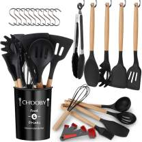 Silicone Kitchen Cooking Utensils Set, CHOOBY 24 Pcs Non-stick Kitchen Utensils Spatula Set with Holder, Heat Resistant and BPA Free Cookware with Wooden Handle, Kitchen Gadgets Tools Gift