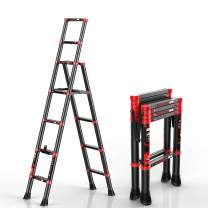 Telescoping Ladder A-Frame Extension Portable Aluminum Folding Herringbone Indoor Multi-Function Step Ladder 330lb Load Capacity for Home Loft Office (Red Black 5+7)