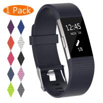 KingAcc Compatible Fitbit Charge 2 Bands, Soft Silicone Replacement Band for Fitbit Charge 2, with Metal Buckle Fitness Wristband Sport Strap Women Men (1-Pack, Navy Blue, Large)