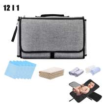 Newborn Baby Shower Gift Set for Boy Girl, Portable Waterproof Diaper Changing Mat Station-Foldable Diaper Clutch Bag Kit for Travel Outdoor Shopping