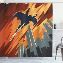 "Ambesonne Vintage Shower Curtain, Silhouette of a Superhero Over Apartments in Sky Night Fiction Comic Image, Cloth Fabric Bathroom Decor Set with Hooks, 70"" Long, Orange Grey"