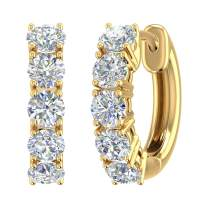 1 Carat to 3 Carat 14K Gold Round White Diamond Ladies Huggies Hoop Earrings (I1-I2 Clarity)