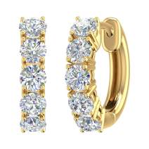 1 Carat to 3 Carat 14K Gold Round White Diamond Ladies Huggies Hoop Earrings (I1-I2 Clarity)