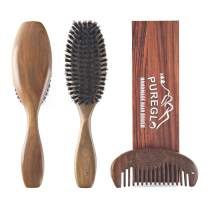 Boar Bristle Hair Brush [Gift Box] - pureGLO Natural Green Sandalwood Paddle Hairbrush for Men Women and Kids - Wide Tooth Detangling Comb Included
