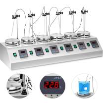 VEVOR 6 Heads Magnetic Stirrer,Lab Magnetic Mixer and Hotplate,Multi Unit Digital Thermostatic,0-1600 RPM Adjustable Magnetic Stirrer Mixer with Stirring Bar(110V)