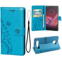 Teebo Wallet Case for Motorola Moto Z2 Force, 3 Card Holder Embossed Butterfly Flower PU Leather Magnetic Flip Cover for Motorola Moto Z2 Force(Blue)