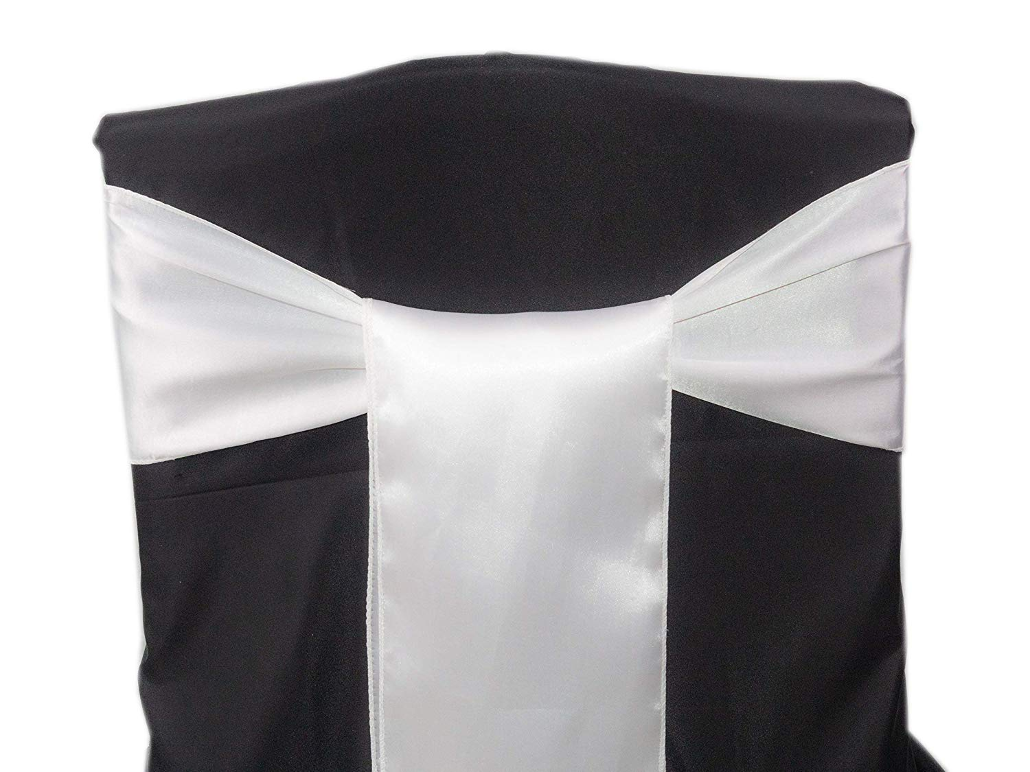 mds Pack of 50 Satin Chair Sashes Bow sash for Wedding and Events Supplies Party Decoration Chair Cover sash - White
