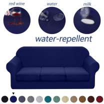 Granbest 4 Piece Premium Water-Repellent Sofa Slipcover for 3 Cushion Couch High Stretch Sofa Cover for 3 seat Sofa Super Soft Fabric Couch Cover for Dogs Pets Furniture Cover (Large, Navy Blue)