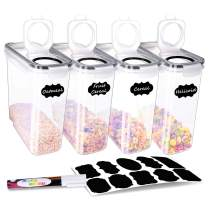 BINLAN Cereal Storage Containers - 4 Piece (135oz) Airtight Food Storage Containers - Large Kitchen Pantry Storage Container Set - BPA-Free Dispenser Keepers with 20 Labels & Pen - Black