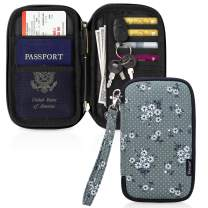 Skycase Passport Holder Document Organizer Bag, Travel Wallet with Credit Card Holder, Floral Green