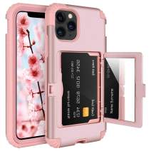 BENTOBEN iPhone 11 Pro Max Case, Credit Card Holder Slot Handy Mirror Hybrid Hard PC Soft TPU Rubber Heavy Duty Shockproof Protective Girly Women Phone Cover for iPhone11 Pro MAX 6.5 2019, Rose Gold