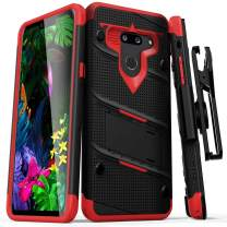 ZIZO Bolt Series LG G8 ThinQ Case | Military-Grade Drop Protection w/Kickstand Bundle Includes Belt Clip Holster + Lanyard Black Red