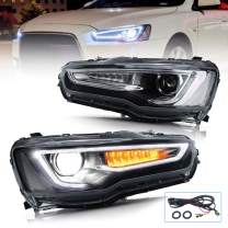 VLAND Projector Led Headlights Compatible with Mitsubishi Lancer EVO X 2008-2019 with Dual Beam and Switchback Turn Signal, Clear Lends