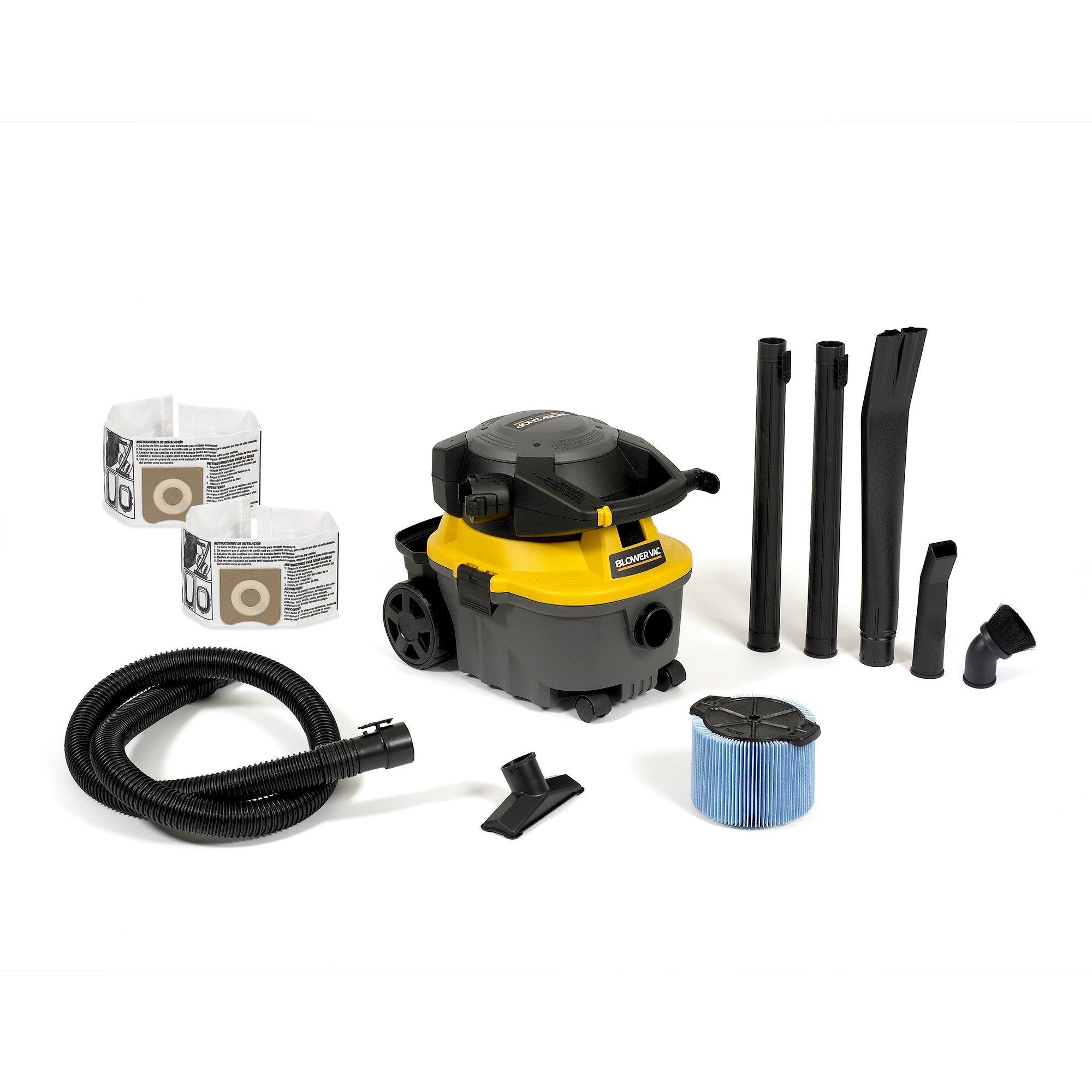 WORKSHOP Wet Dry Blower Vac WS0400DE, 4-Gallon Leaf Blower Vacuum Cleaner, 6.0 Peak HP w/bags and attachment