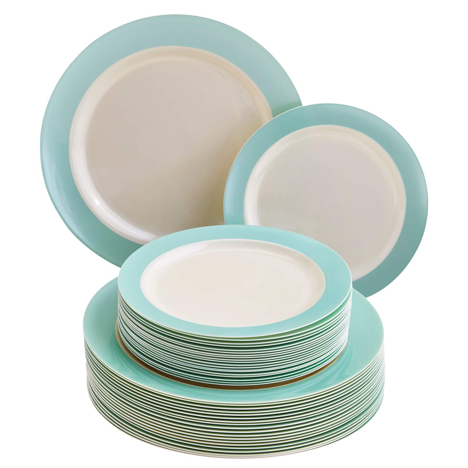 DISPOSABLE 40 PC DINNERWARE SET   20 Dinner Plates   20 Salad Plates   Heavy Duty Plastic Dishes   Elegant Fine China Look   Pastel Collection (Turquoise)