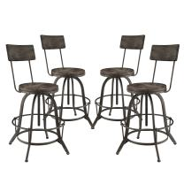 Modway Procure Rustic Farmhouse Pine Wood and Cast Iron Adjustable Height Four Bar Stools in Black