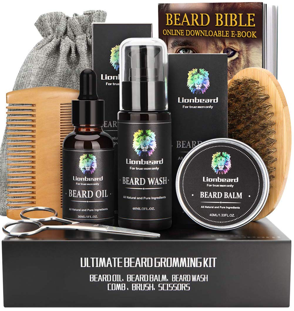 Beard Care Kit for Men Beard Growth Grooming & Trimming, Beard Shampoo Wash, Beard Oil Conditioner, Balm Wax, Brush, Comb, Scissors, Perfect Gifts for Him Dad Husband Boyfriend