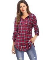 LANISEN Womens 3/4 Roll Sleeve Button Down Collared V Neck Plaid Flannel Shirt Dressy Office Tunic Tops with Pockets