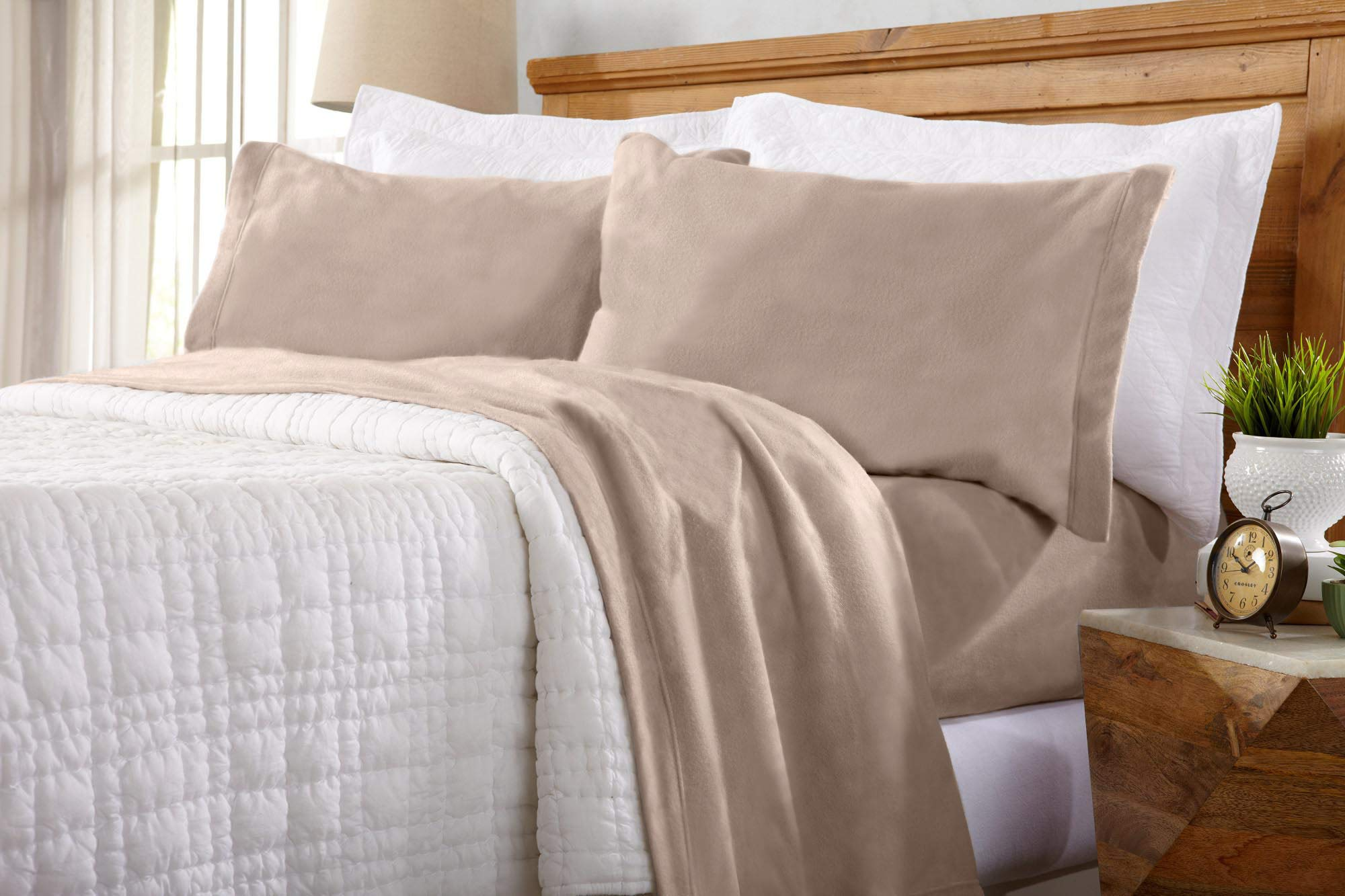 Home Fashion Designs Maya Collection Super Soft Extra Plush Fleece Sheet Set. Cozy, Warm, Durable, Smooth, Breathable Winter Sheets in Solid Colors (Twin, Taupe)