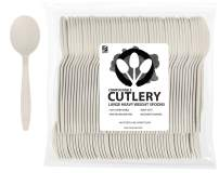 """ZenCo Biodegradable Compostable Disposable Cutlery - 100 Spoons Large 6.5"""" Ivory - Heavy Duty Heat Resistant Eco Friendly Utensils for Office, Catering, Picnics or Birthdays (100 Count, Spoons)"""