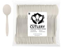 "ZenCo Biodegradable Compostable Disposable Cutlery - 100 Spoons Large 6.5"" Ivory - Heavy Duty Heat Resistant Eco Friendly Utensils for Office, Catering, Picnics or Birthdays (100 Count, Spoons)"