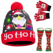 LED Light-up Christmas Hat Ugly Knitted Sweater Xmas Party Skull Beanie Hat Cap