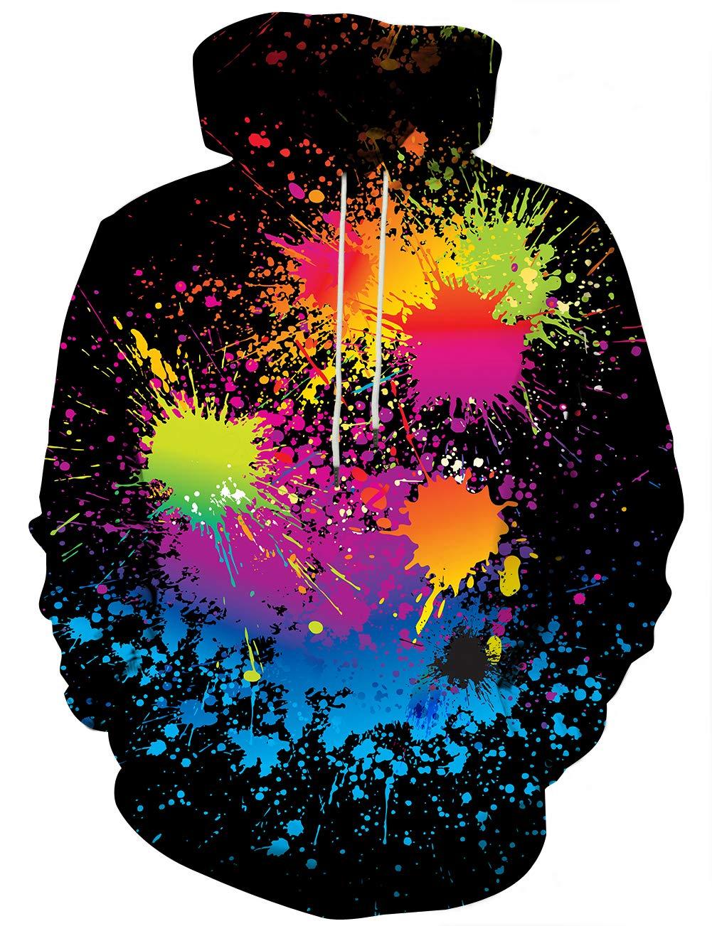 YAJOOEY Unisex Realistic 3D Digital Print Pullover Hoodie Hooded Sweatshirt
