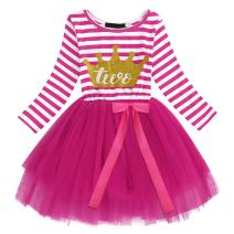 Baby Girls 1st/2nd/3rd Birthday Long Sleeve Princess Cake Smash Baptism Crown Tulle Party Dress Striped Outfit Tutu Gown