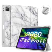 Fintie SlimShell Case with Pencil Holder for iPad Pro 11 Inch 2nd & 1st Generation 2020/2018 - [Supports 2nd Gen Pencil Charging] Soft TPU Smart Stand Back Cover with Auto Wake/Sleep, Marble White